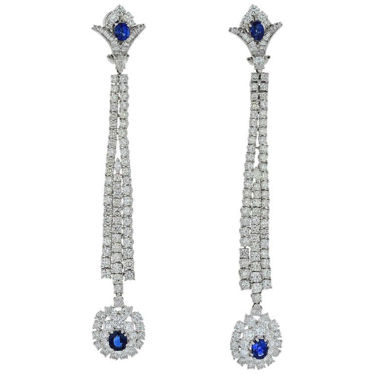 Jahan Diamond and Sapphire Long Dangle Earrings For Sale