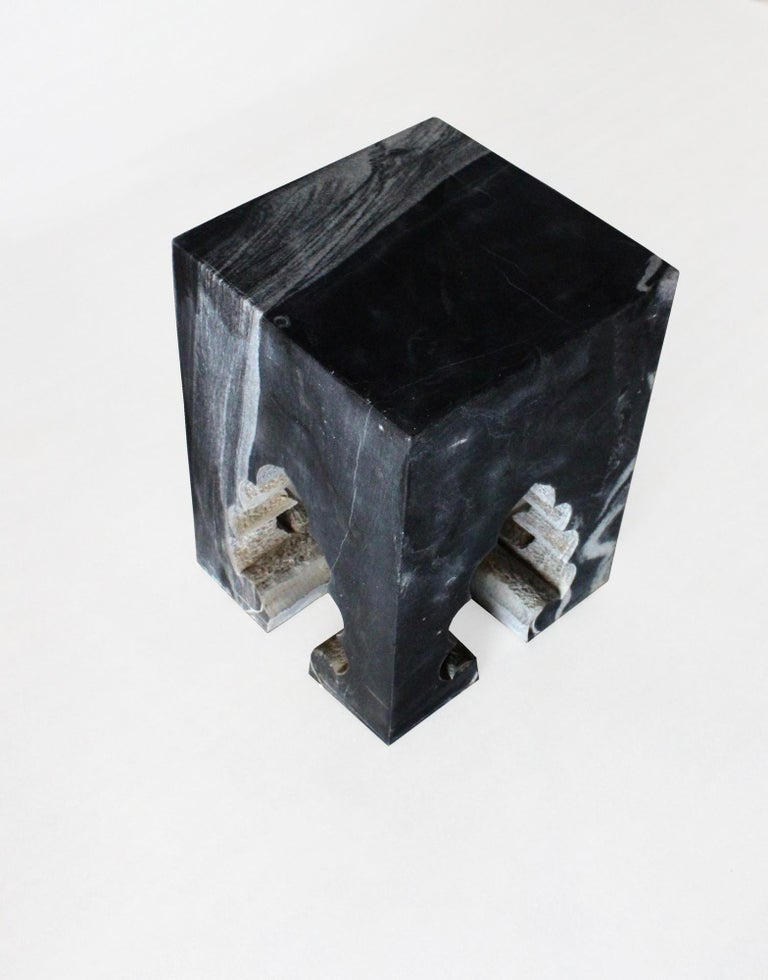 Other Jahangir II Side Table in Black Marble by Paul Mathieu for Stephanie Odegard For Sale