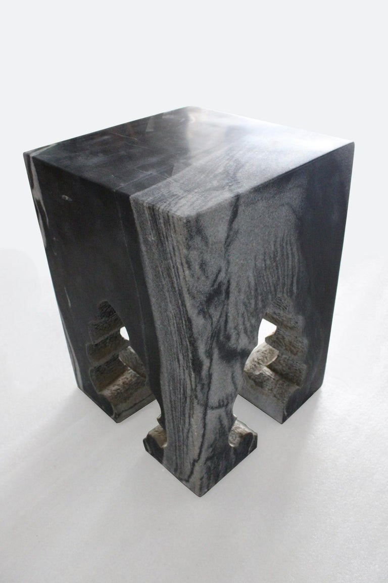 Indian Jahangir II Side Table in Black Marble by Paul Mathieu for Stephanie Odegard For Sale