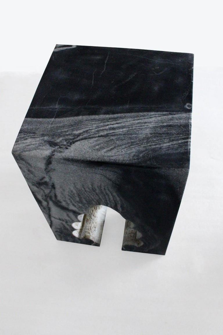 Hand-Carved Jahangir II Side Table in Black Marble by Paul Mathieu for Stephanie Odegard For Sale