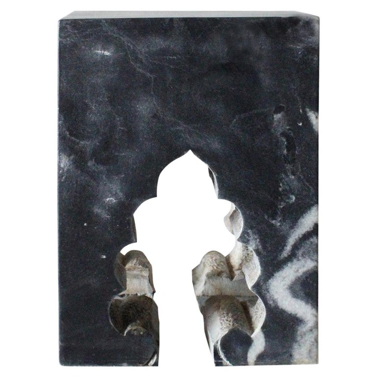 Jahangir II Side Table in Black Marble by Paul Mathieu for Stephanie Odegard For Sale