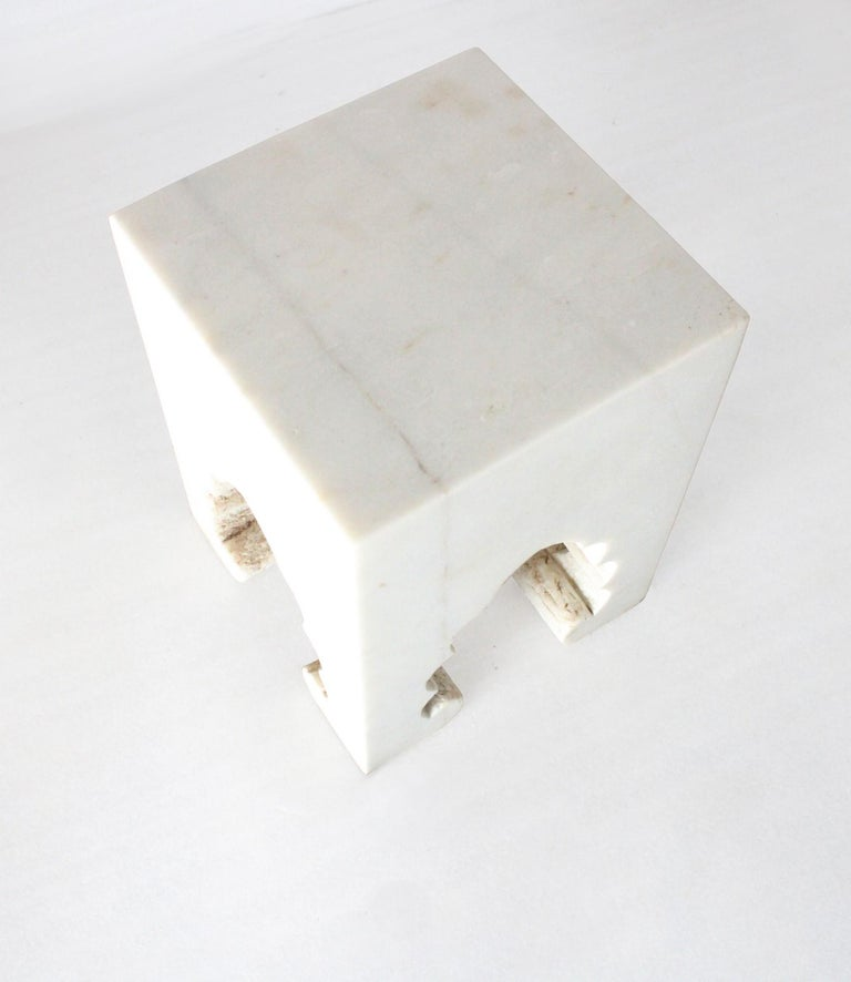 Other Jahangir II Side Table in White Marble by Paul Mathieu for Stephanie Odegard For Sale
