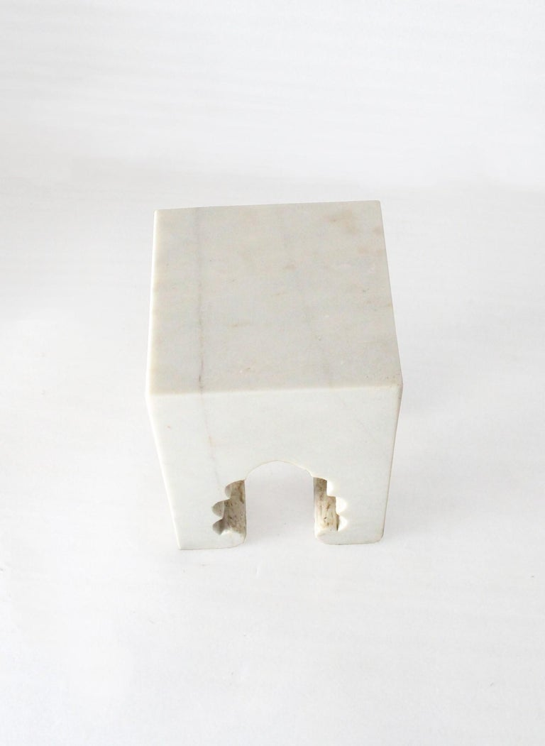 Indian Jahangir II Side Table in White Marble by Paul Mathieu for Stephanie Odegard For Sale