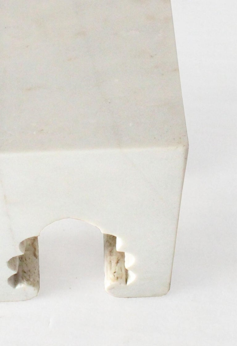 Hand-Carved Jahangir II Side Table in White Marble by Paul Mathieu for Stephanie Odegard For Sale