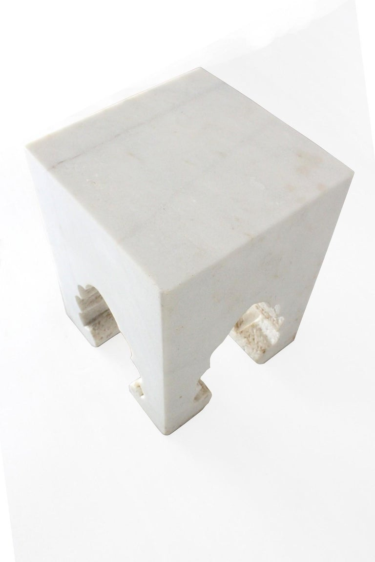 Jahangir II Side Table in White Marble by Paul Mathieu for Stephanie Odegard In New Condition For Sale In New York, NY