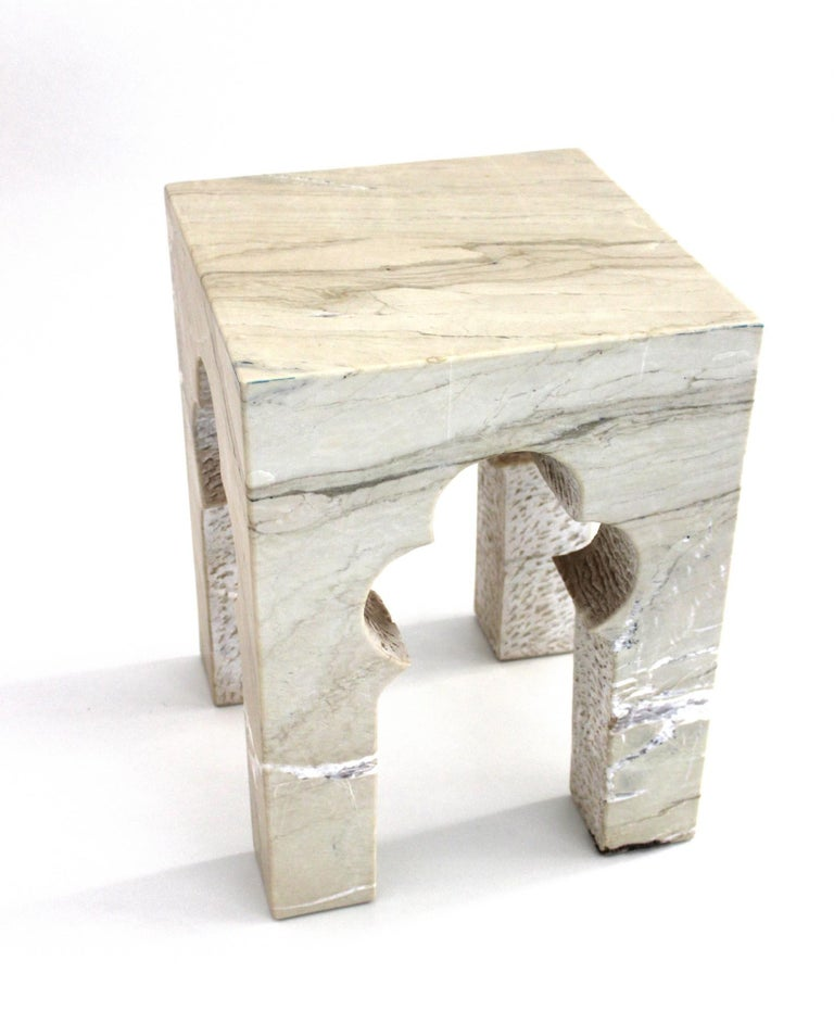 Other Jahangir Side Table in Katni Marble by Paul Mathieu for Stephanie Odegard For Sale
