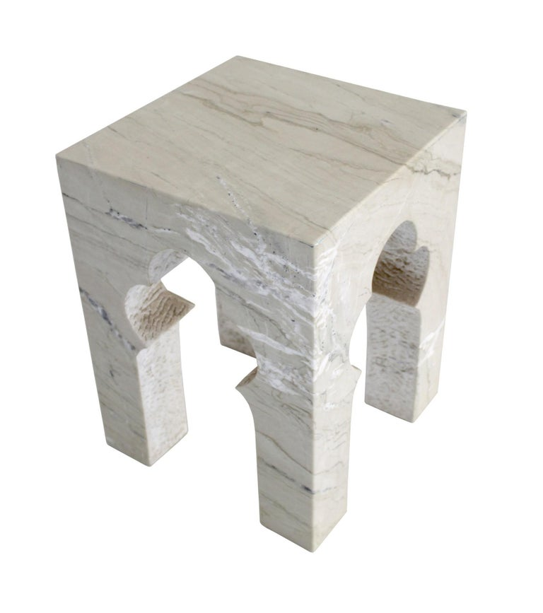 Indian Jahangir Side Table in Katni Marble by Paul Mathieu for Stephanie Odegard For Sale