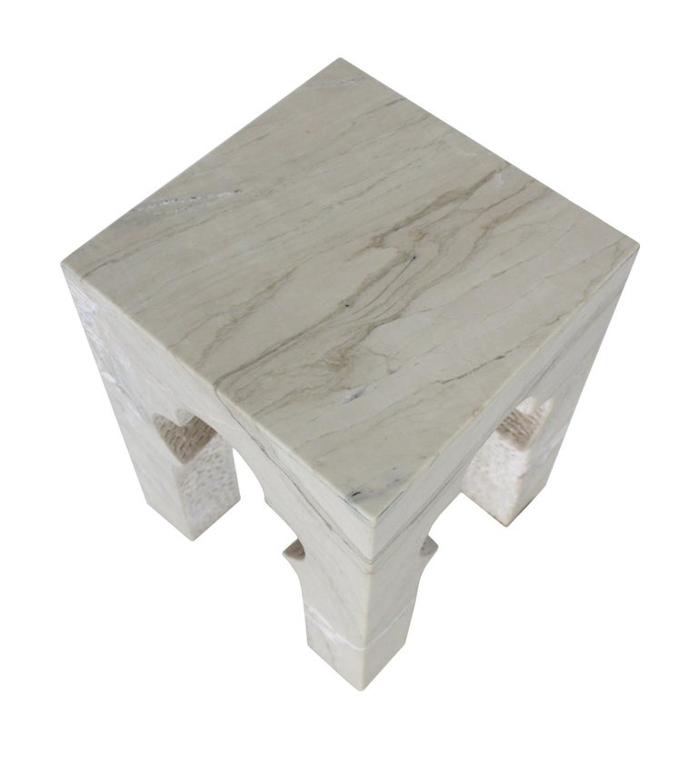 Hand-Carved Jahangir Side Table in Katni Marble by Paul Mathieu for Stephanie Odegard For Sale