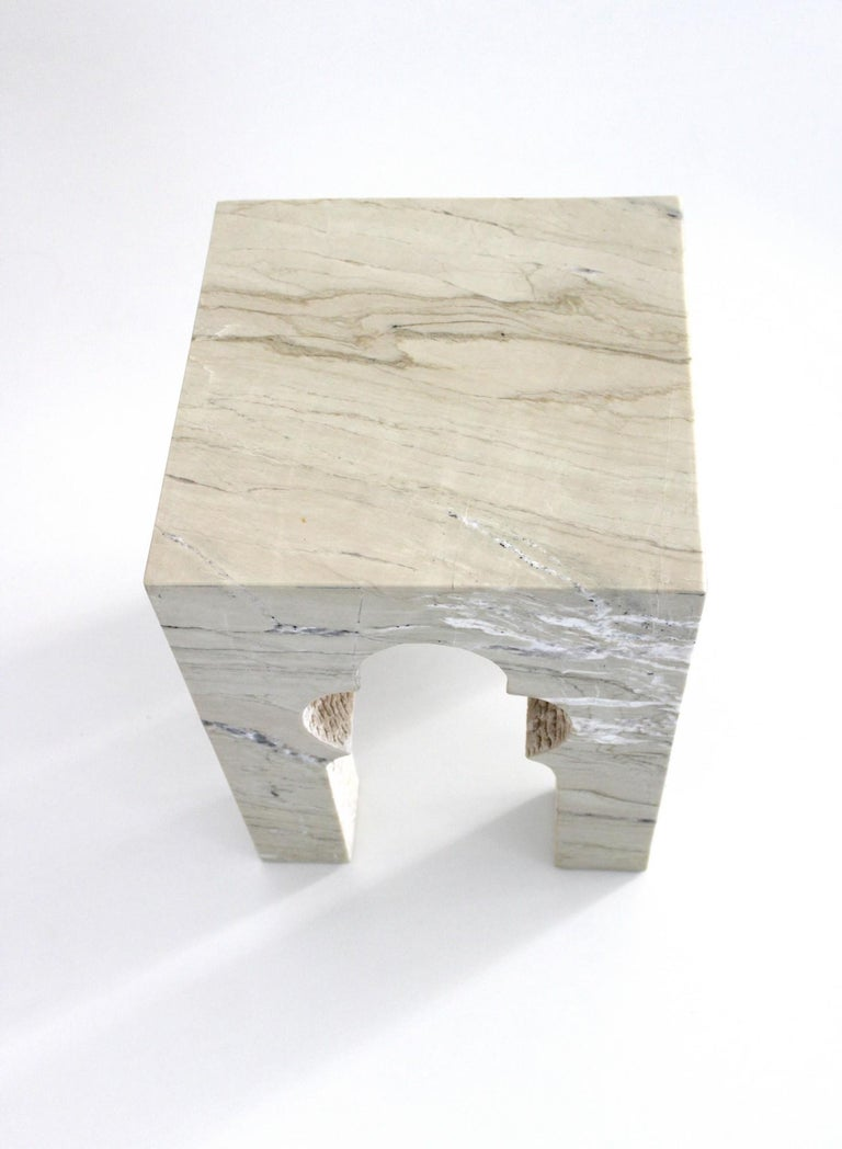 Jahangir Side Table in Katni Marble by Paul Mathieu for Stephanie Odegard In New Condition For Sale In New York, NY