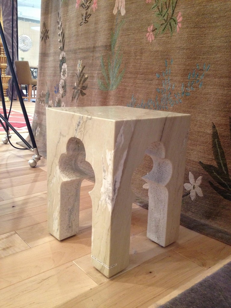 Jahangir Side Table in Katni Marble by Paul Mathieu for Stephanie Odegard For Sale 1
