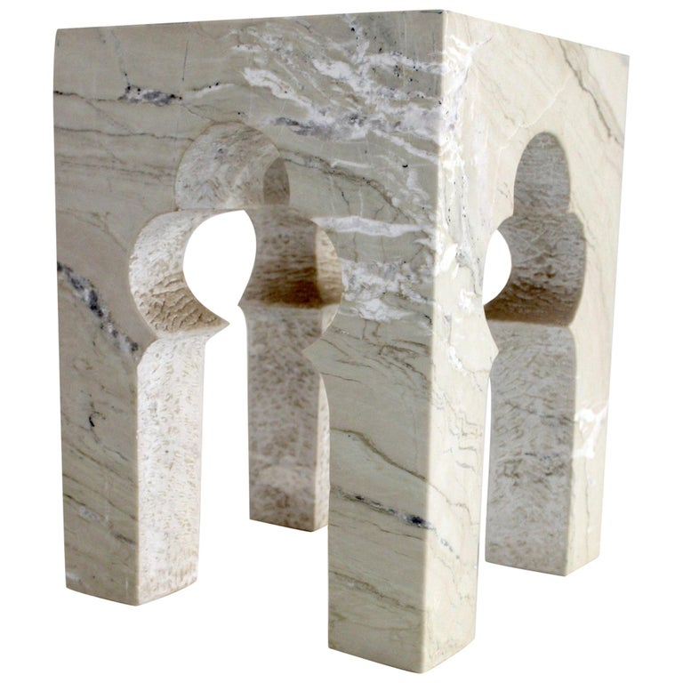 Jahangir Side Table in Katni Marble by Paul Mathieu for Stephanie Odegard For Sale