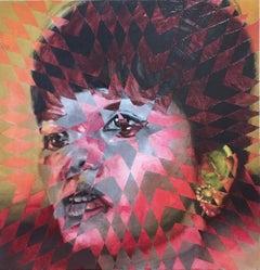The Dragon Lady by JAHRU, oil painting portrait, geometric patterns, street art