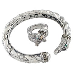 Jai John Hardy Croco Collection Sterling Silver and 18k Gold Cuff and Ring Set