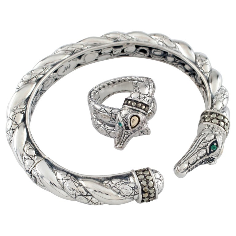 Jai John Hardy Croco Collection Sterling Silver and 18k Gold Cuff and Ring Set For Sale
