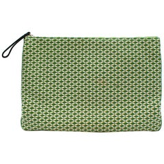 Jaime Beriestain Greeen Geometric Pattern Leather Pouch Bag