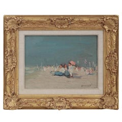 Jaime E. Carret American, 'Beach Scene' Painting in Oil on Panel