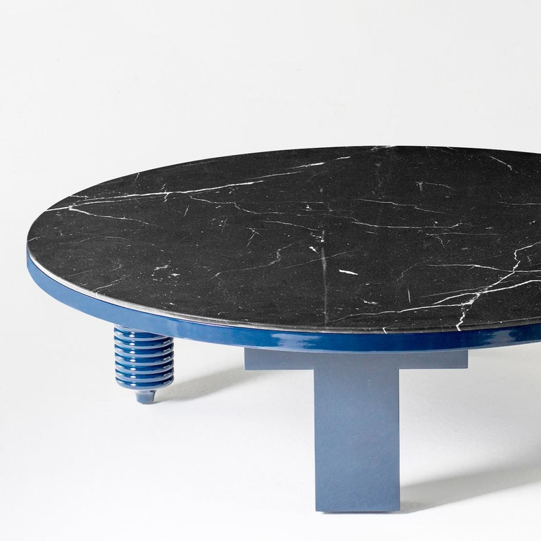 Modern Jaime Hayon Blue Rounded Black Marble Multileg Low Table by BD Barcelona For Sale