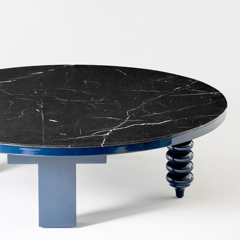 Spanish Jaime Hayon Blue Rounded Black Marble Multileg Low Table by BD Barcelona For Sale
