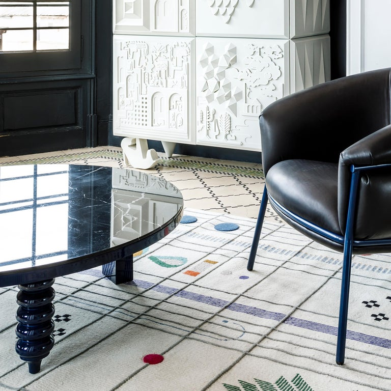 Jaime Hayon Blue Rounded Black Marble Multileg Low Table by BD Barcelona In New Condition For Sale In Barcelona, Barcelona