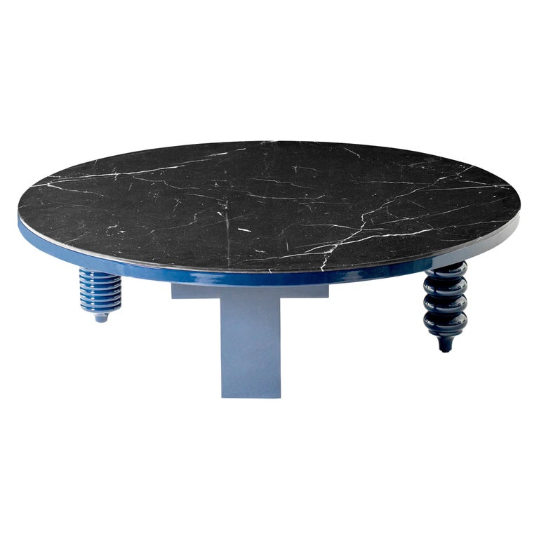 Jaime Hayon Blue Rounded Black Marble Multileg Low Table by BD Barcelona For Sale