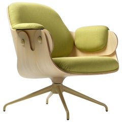 Jaime Hayon, Contemporary, Ash, Pistachio Upholstery Low Lounger Armchair