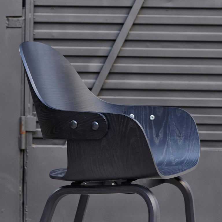 Leather Jaime Hayon, Contemporary, Black Wood Chair Showtime Nude by BD Barcelona For Sale