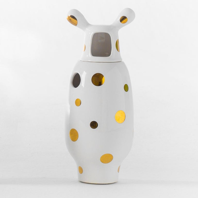 Spanish Jaime Hayon Contemporary Glazed Stoneware 'Showtime 10' Vase Number 2 For Sale