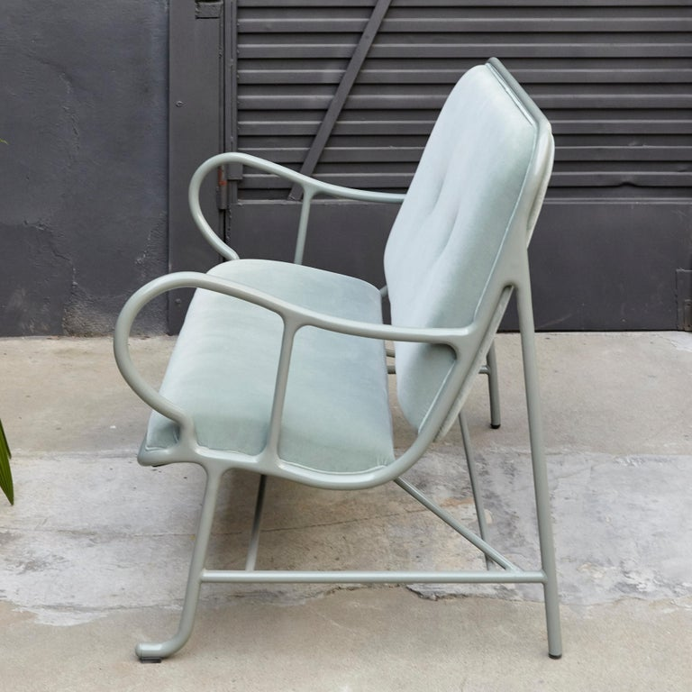 The Gardenias collection is the second largest collection by Jaime Hayon for BD. Structure made of cast and extruded aluminium painted and green velvet upholstery.  In good condition, preserving a beautiful patina with minor wear consistent of