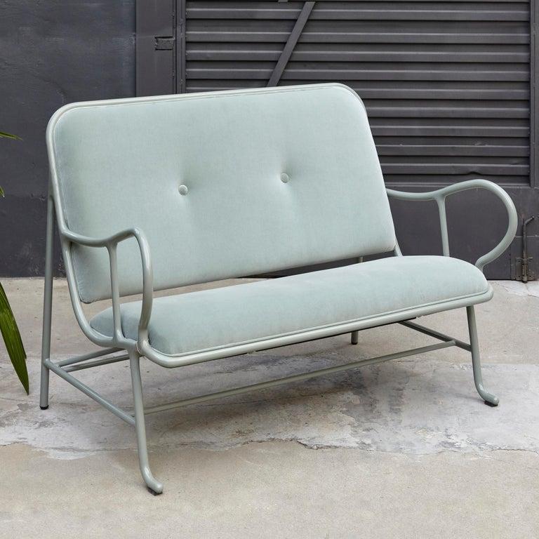 Modern Jaime Hayon Contemporary Green Velvet Sculptural 'Gardenias' Indor Bench for BD For Sale