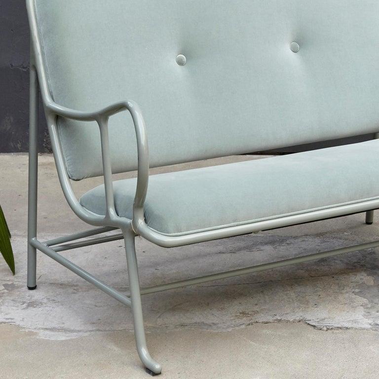 Painted Jaime Hayon Contemporary Green Velvet Sculptural 'Gardenias' Indor Bench for BD For Sale