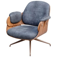 Jaime Hayon, Contemporary, Leather Black Upholstery Brown Wood Low Armchair