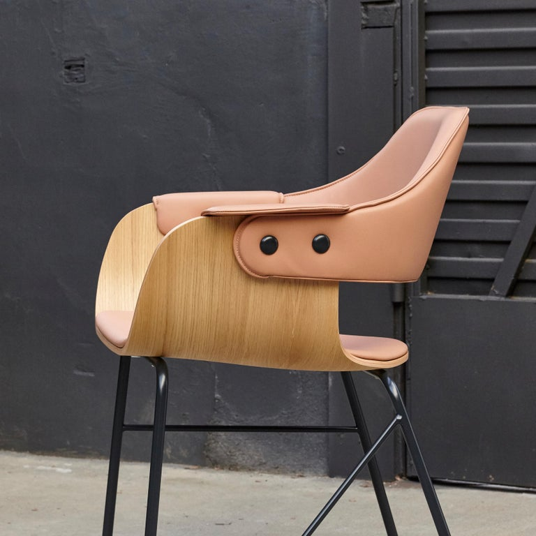 Jaime Hayon Contemporary Leather Upholstered Wood Chair Showtime by BD Barcelona For Sale 4