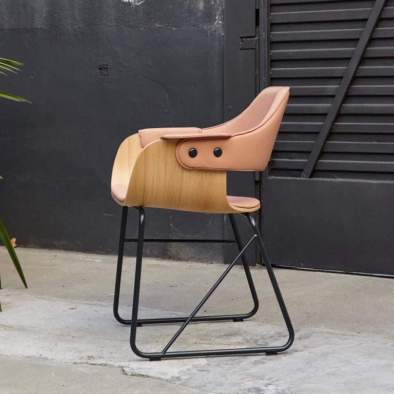 Modern Jaime Hayon Contemporary Leather Upholstered Wood Chair Showtime by BD Barcelona For Sale