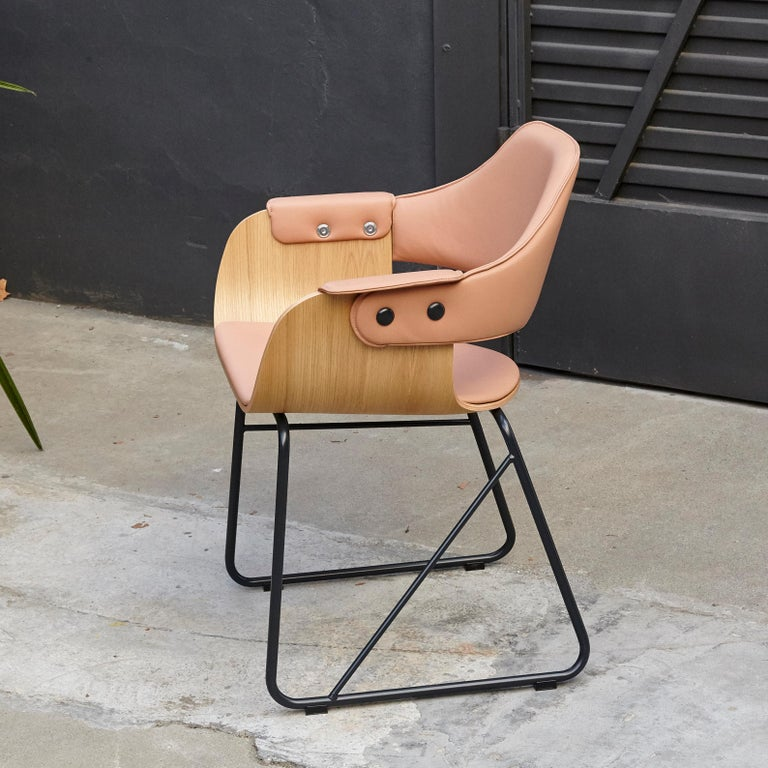 Spanish Jaime Hayon Contemporary Leather Upholstered Wood Chair Showtime by BD Barcelona For Sale