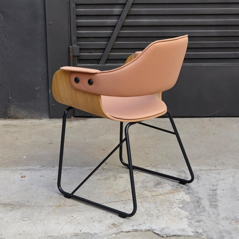 Steel Jaime Hayon Contemporary Leather Upholstered Wood Chair Showtime by BD Barcelona For Sale