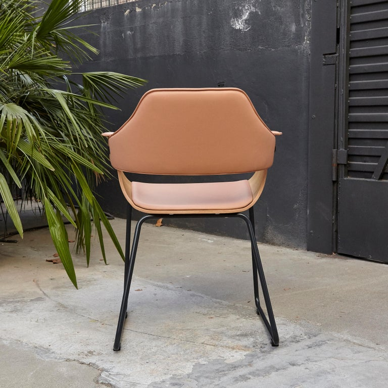 Jaime Hayon Contemporary Leather Upholstered Wood Chair Showtime by BD Barcelona For Sale 1