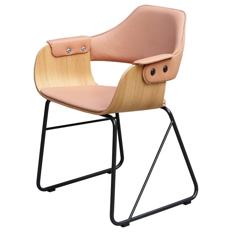 Jaime Hayon Contemporary Leather Upholstered Wood Chair Showtime by BD Barcelona For Sale