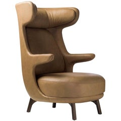 Jaime Hayon, Contemporary Monocolor Brown Leather Upholstery Dino Armchair