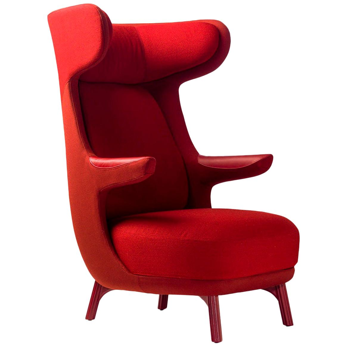 Jaime Hayon, Contemporary Monocolor Red Fabric Leather Upholstery Dino Armchair