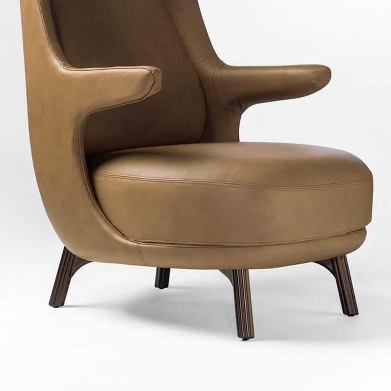 Modern Jaime Hayon, Contemporary Monocolor Brown Leather Upholstery Dino Armchair For Sale