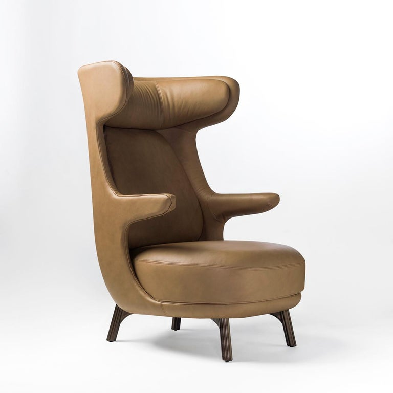 Spanish Jaime Hayon, Contemporary Monocolor Brown Leather Upholstery Dino Armchair For Sale