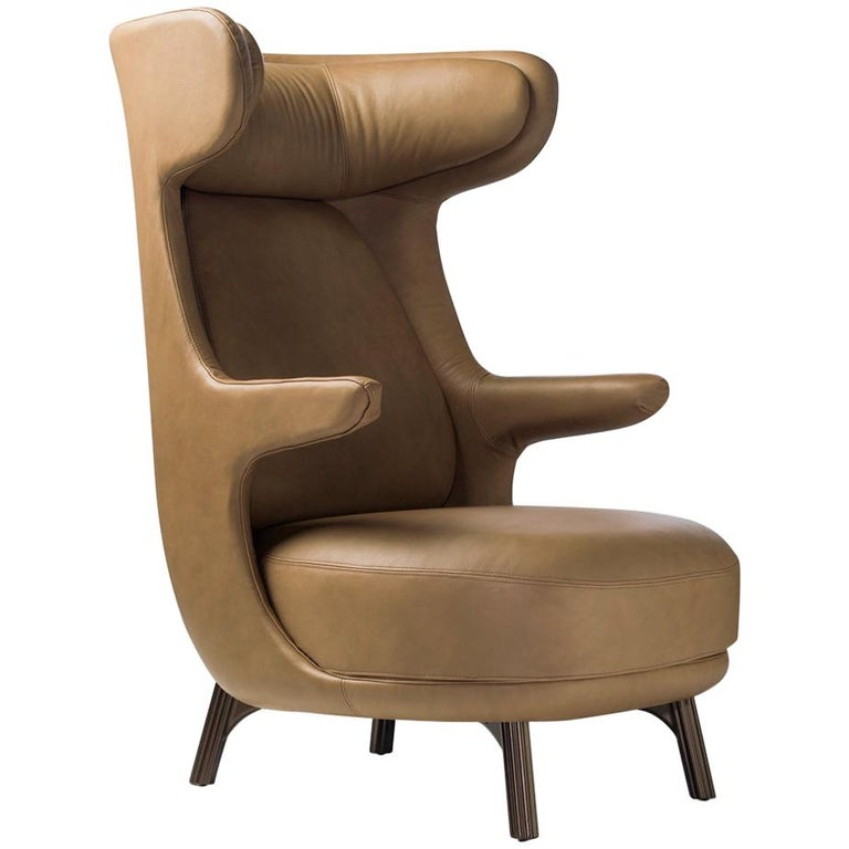 Jaime Hayon, Contemporary Monocolor Brown Leather Upholstery Dino Armchair For Sale