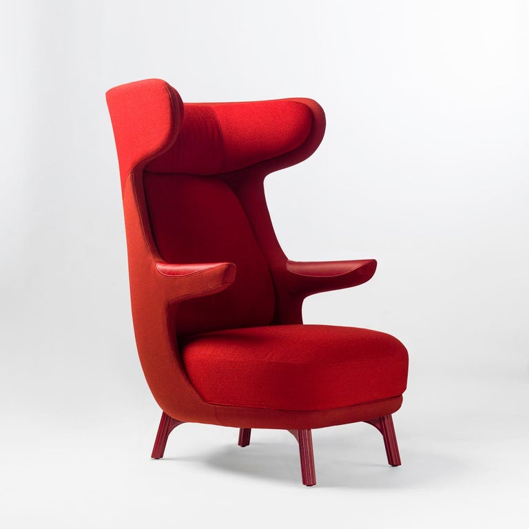 Spanish Jaime Hayon, Contemporary Monocolour Red Fabric Leather Upholstery Dino Armchair For Sale