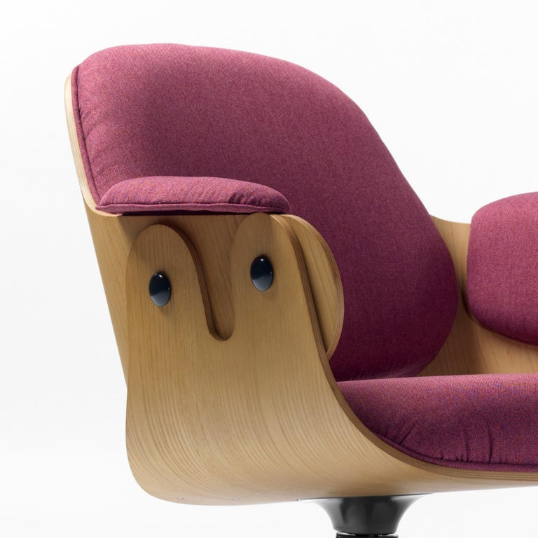 Modern Jaime Hayon, Contemporary, Oak, Fuchsia Upholstery Low Lounger Armchair For Sale