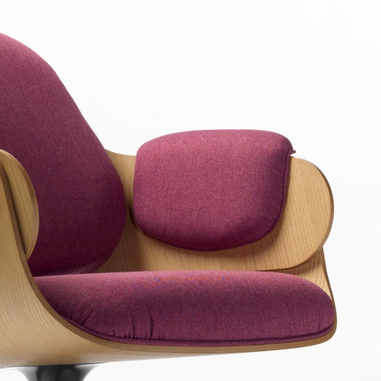 Spanish Jaime Hayon, Contemporary, Oak, Fuchsia Upholstery Low Lounger Armchair For Sale