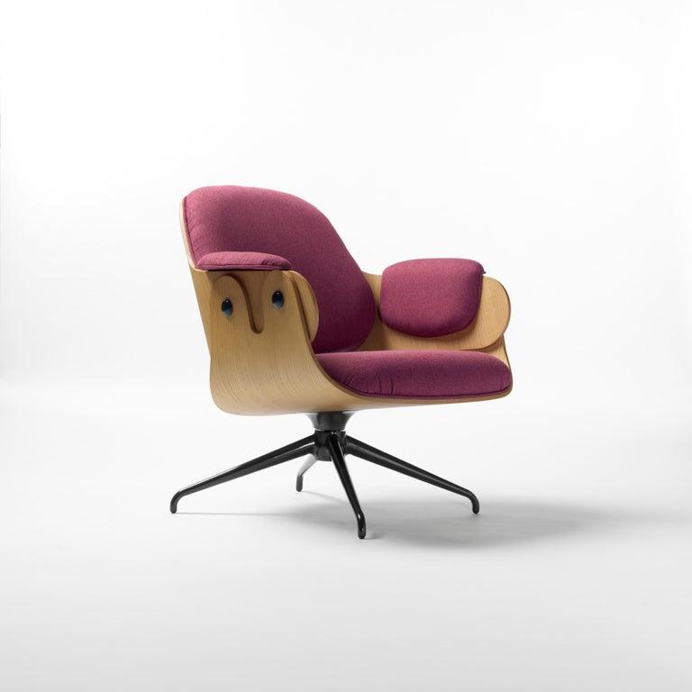 Aluminum Jaime Hayon, Contemporary, Oak, Fuchsia Upholstery Low Lounger Armchair For Sale
