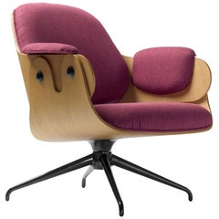 Jaime Hayon, Contemporary, Oak, Fuchsia Upholstery Low Lounger Armchair