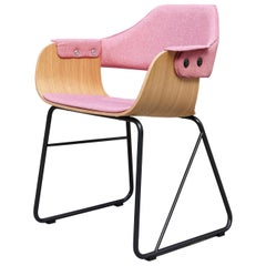 Jaime Hayon Contemporary Pink Upholstered Wood Chair Showtime by BD Barcelona
