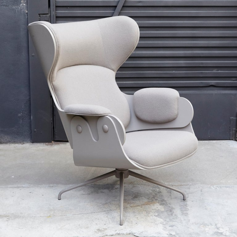 Modern Jaime Hayon, Contemporary, Plywood Grey Upholstery Lounger Armchair For Sale