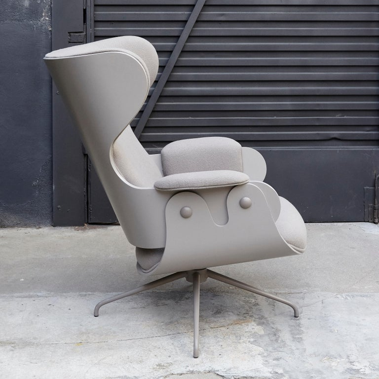 Spanish Jaime Hayon, Contemporary, Plywood Grey Upholstery Lounger Armchair For Sale